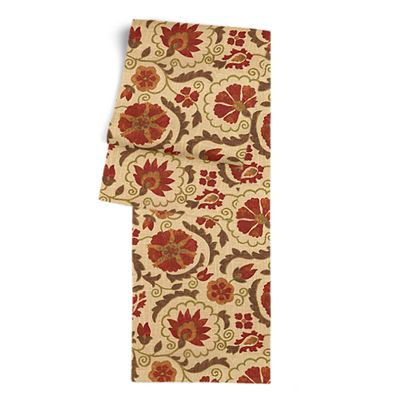 Beige & Red Suzani Table Runner