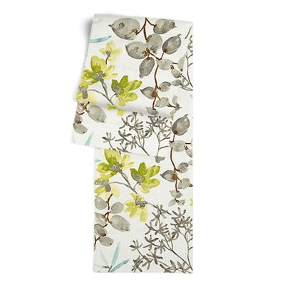 Aqua Blue Watercolor Floral Table Runner