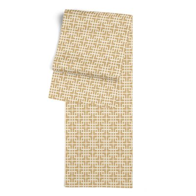 Beige Square Lattice Table Runner