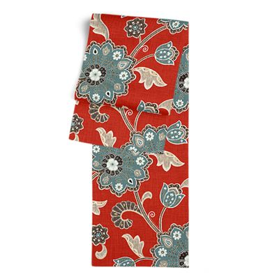 Aqua & Red Floral Table Runner