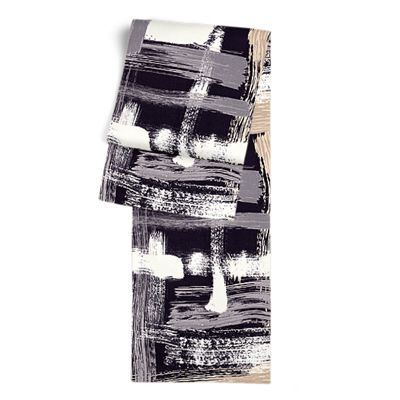 Black & White Brushstrokes Table Runner