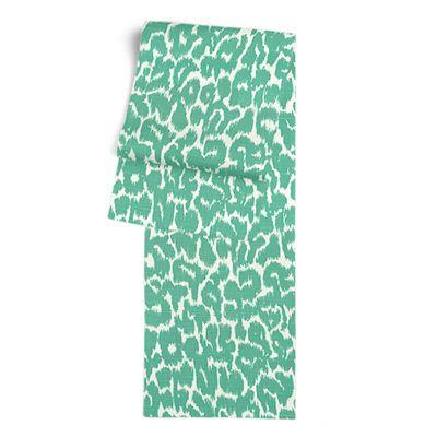 Bright Green Leopard Print Table Runner