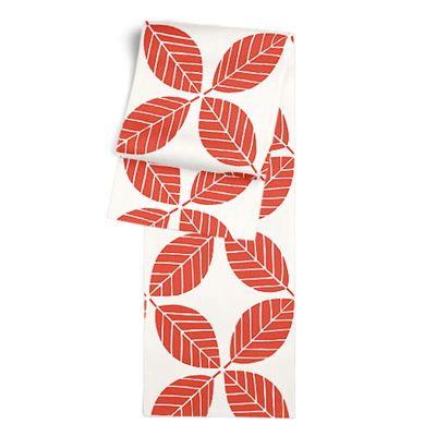 Geometric Coral Leaf Table Runner