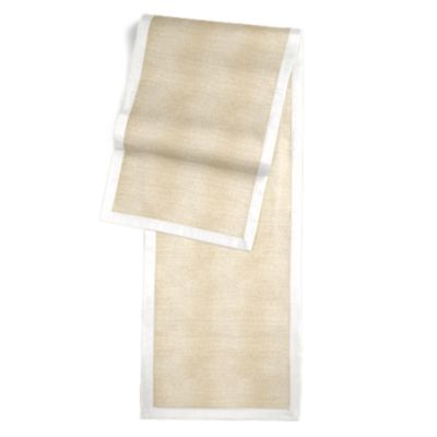 Silvery Tan Metallic Linen Runner with White Trim