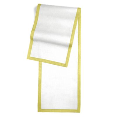 Solid Ivory Linen Runner with Citrus Trim