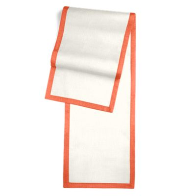 ivory Linen Runner with Coral Trim