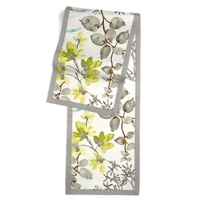 Aqua Blue Watercolor Floral Table Runner, Flanged