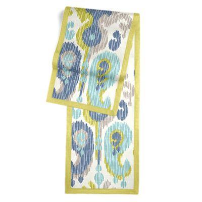 Aqua, Blue & Green Ikat Table Runner, Flanged