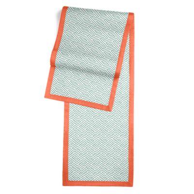 Maze Print Aqua Geometric Table Runner, Flanged