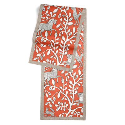 Red Modern Animal Motif Table Runner, Flanged