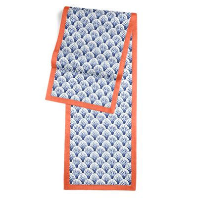 Nautical Blue Scallop Fabric Table Runner, Flanged