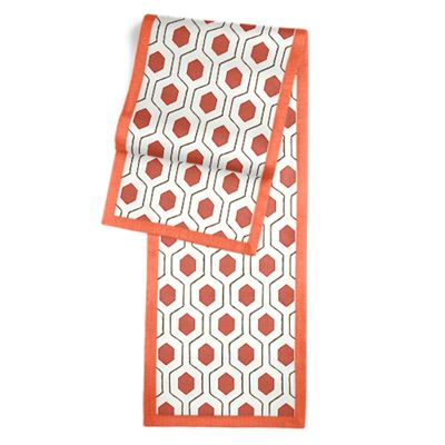 Gray & Red Hexagon Table Runner, Flanged