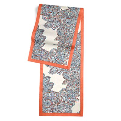 Paisley Coral & Blue Damask Table Runner, Flanged
