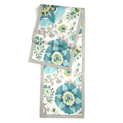 Aqua Blue Suzani Table Runner, Flanged