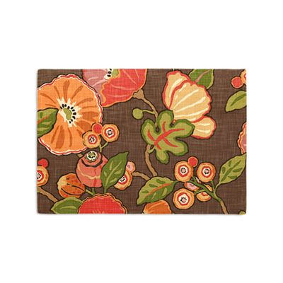 Bold Brown & Red Floral Placemat, Set of 4