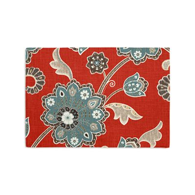 Modern Aqua & Red Floral Placemat, Set of 4