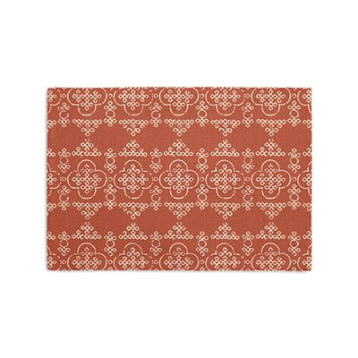Orange Quatrefoil Block Print Placemats