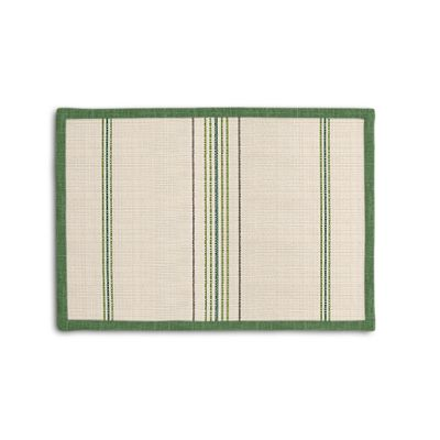 Green Burlap-Style Stripe Placemat, Set of 4