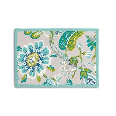 Gray & Blue Floral Placemat, Set of 4