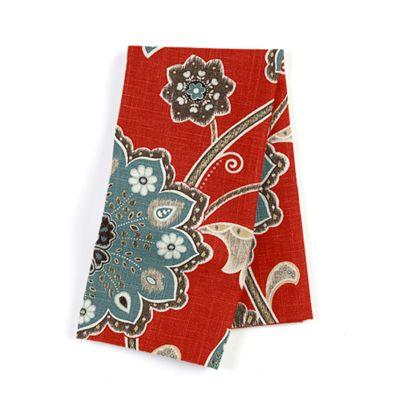 Modern Aqua & Red Floral Napkin, Set of 4