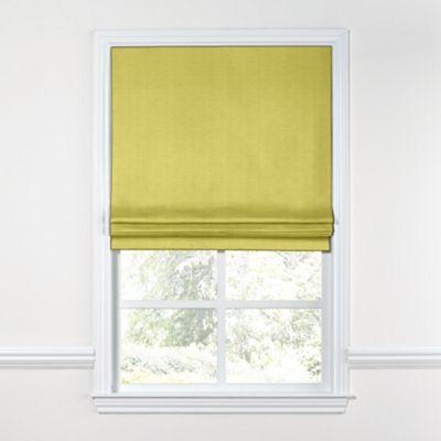Lime Green Linen Roman Shade, Flat