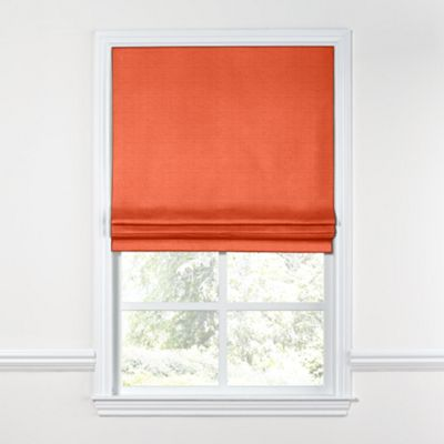 Solid Coral Linen Roman Shade, Flat