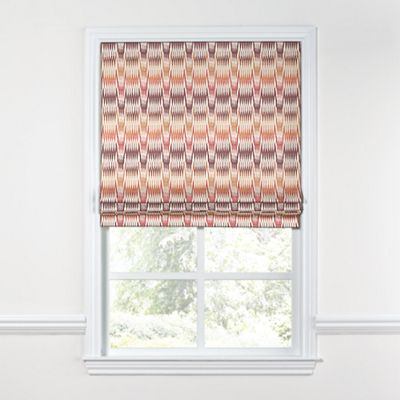 Orange & Pink Flame Stitch Roman Shade
