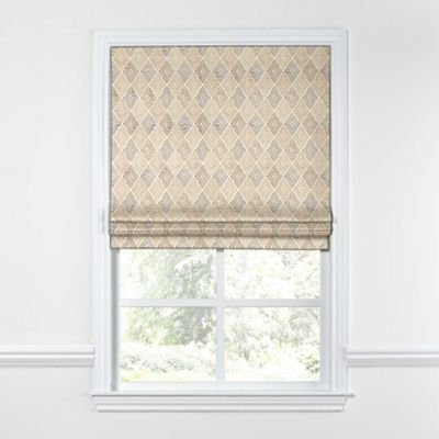 Beige Diamond Block Print Roman Shade