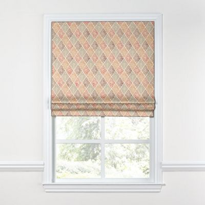 Orange Diamond Block Print Roman Shade