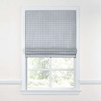 Sky Blue Lattice Roman Shade