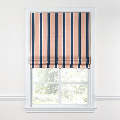Dotted Coral & Blue Stripe Roman Shade, Flat