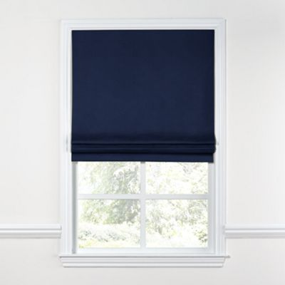 Navy Blue Velvet Roman Shade