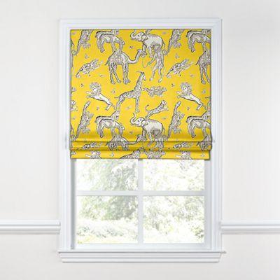 Yellow & Gray Zoo Animal Roman Shade