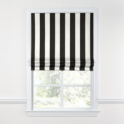Black & White Awning Stripe Roman Shade