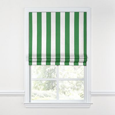 Green Awning Stripe Roman Shade