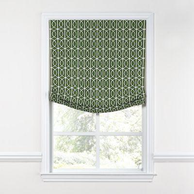 Modern Green Trellis Relaxed Roman Shade