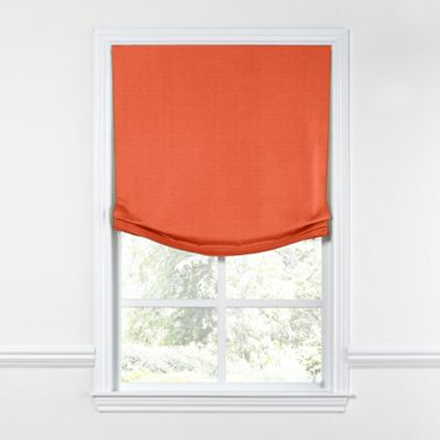 Solid Coral Linen Relaxed Roman Shade