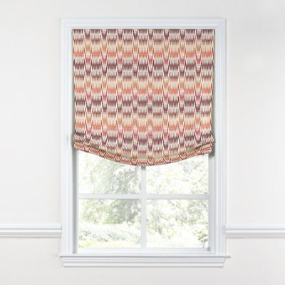 Orange & Pink Flame Stitch Relaxed Roman Shade