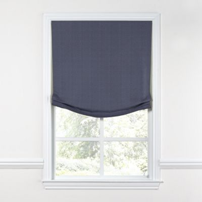Navy Blue Lightweight Linen Relaxed Roman Shade