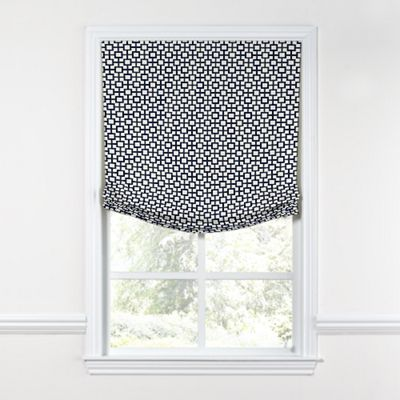 Navy Blue Square Trellis Relaxed Roman Shade