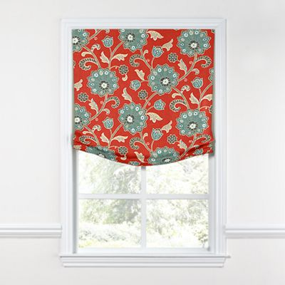 Modern Aqua & Red Floral Relaxed Roman Shade