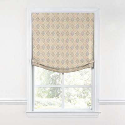 Beige Diamond Block Print Relaxed Roman Shade