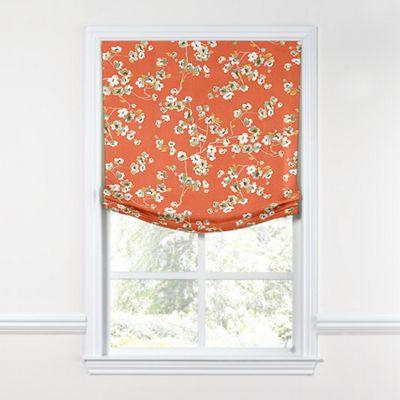 Orange Cherry Blossom Relaxed Roman Shade