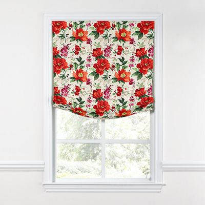 Bold Green & Red Floral Relaxed Roman Shade