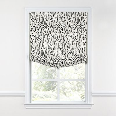 Black & White Animal Print Relaxed Roman Shade