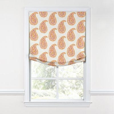 Orange & Pink Paisley Relaxed Roman Shade