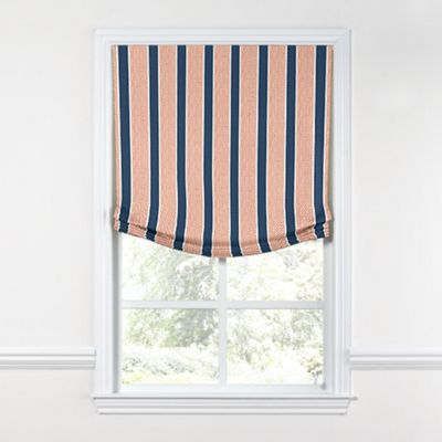 Dotted Coral & Blue Stripe Relaxed Roman Shade