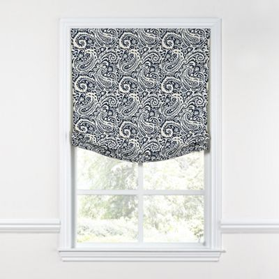 Navy Blue Paisley Relaxed Roman Shade