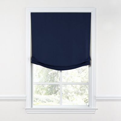 Navy Blue Velvet Relaxed Roman Shade