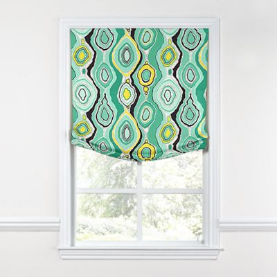 Lime Green & Yellow Abstract Relaxed Roman Shade
